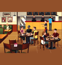 Young people eating pizza together in a restaurant vector