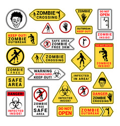 Zombie attention beware and caution sign set vector