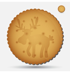 christmas brown biscuit with reindeer symbol eps10 vector image vector image