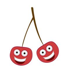 color kawaii happy cherrys icon vector image