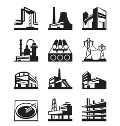 Different types of industrial construction vector image vector image