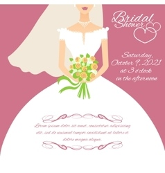 Invitation card with a young bride holding flowers vector image