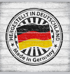 made in germany stamp on wooden background vector image vector image