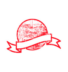 red dirty circle grunge rubber stamp and ribbon vector image