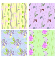 Set of four textured natural seamless patterns vector image