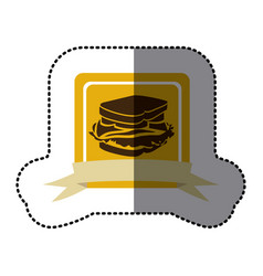 yellow emblem sandwich fast food icon vector image vector image