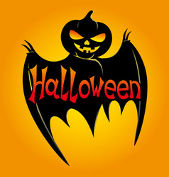 black bat with pumpkin head vector image vector image