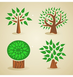 Colorful green tree set vector image