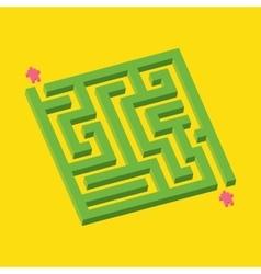 Isometric green maze in pixel art style vector image