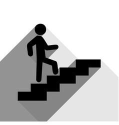 man on stairs going up black icon with vector image