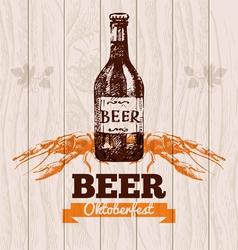 Oktoberfest vintage background Beer hand drawn Me vector image