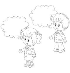 Schoolchildren answer in class vector image vector image