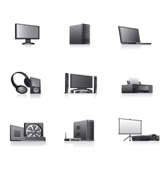 set of computer and electronics devices icons vector image