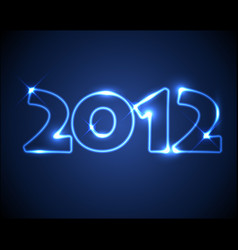 blue neon new year card 2012 vector image