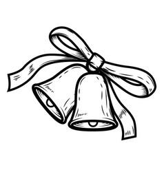 christmas bells on white background design vector image