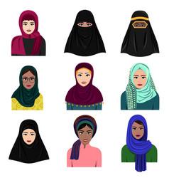 different muslim arab women vector image