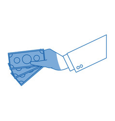 hand businessman with money bill pay vector image vector image