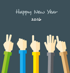 Hands forming number 2016 vector image vector image