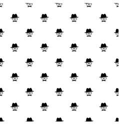 pattern with black gentleman portrait icon vector image