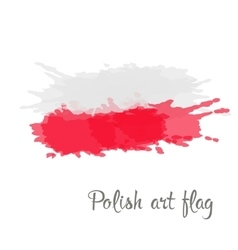 Polish flag painted by brush hand paints vector