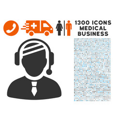 sick dispatcher icon with 1300 medical business vector image vector image