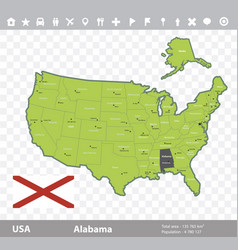 alabama flag and map vector image