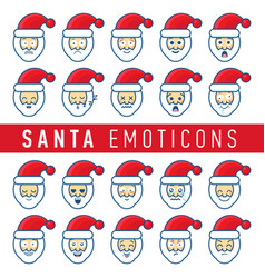 cartoon set of different santa claus faces vector image vector image