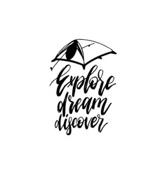 Explore dream discover hand lettering poster vector