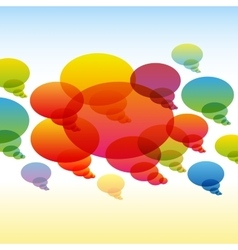 Rainbow transparent chat bubbles on colorful vector image vector image