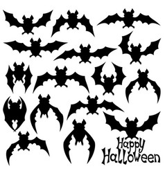 set of black bats vector image vector image