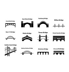 set of bridge landmark icons in silhouette style vector image vector image