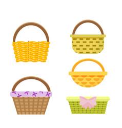 set of wicker baskets in vector image vector image