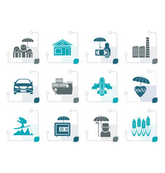 stylized different kind of insurance and risk icon vector image vector image