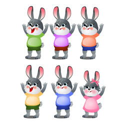 A set animated happy little bunnies in clothes vector