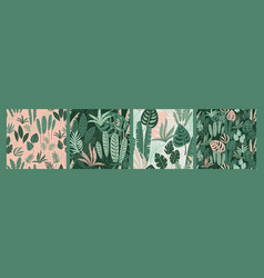 abstract seamless patterns with tropical leaves vector image
