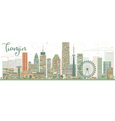 Abstract Tianjin Skyline with Color Buildings vector image vector image