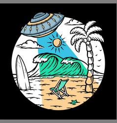 Alien invasion on beach vector