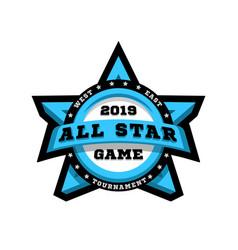 all star game sport emblem logo in shape of vector image
