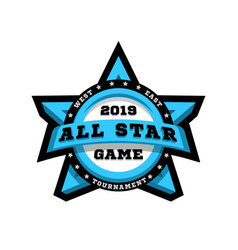 all star game sport emblem logo in the shape vector image