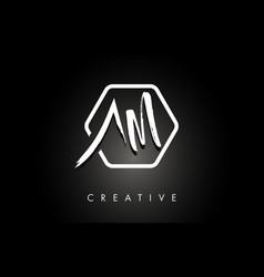 Am a m brushed letter logo design with creative vector