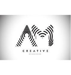 Am lines warp logo design letter icon made vector