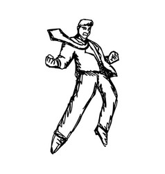 angry businessman sketch hand drawn vector image