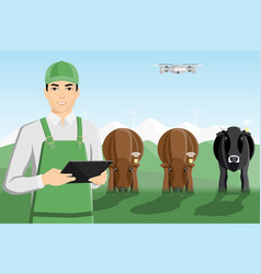 Asian farmer with digital tablet and drone vector