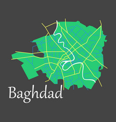 Baghdad city map - iraq flat isolated on vector