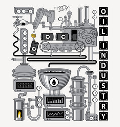 banner on theme oil refining industry vector image