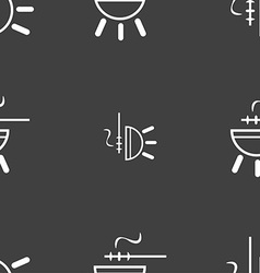 Barbecue icon sign Seamless pattern on a gray vector