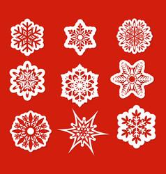 beautiful snowflakes set vector image