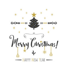 black golden merry christmas and happy new year vector image