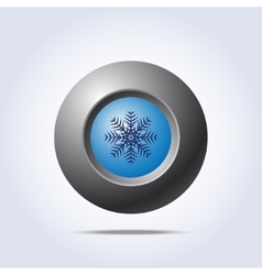 Blue button with snowflake icon vector image vector image