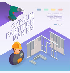 Building services isometric concept worker vector